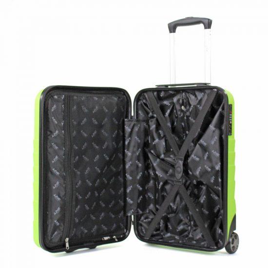 Line Brooks groene handbagage koffer binnenkant