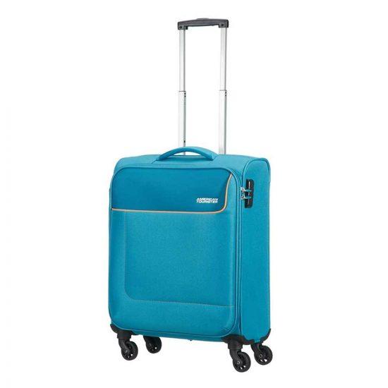 American Tourister Funshine Spinner 55 blue ocean Zachte koffer