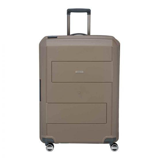 Travelite Makro 4 Wiel Trolley L taupe Harde Koffer