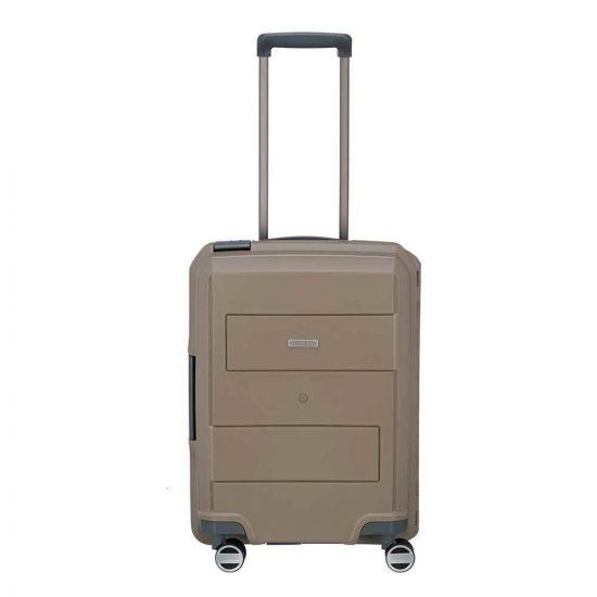 Travelite Makro 4 Wiel Trolley S taupe Harde Koffer