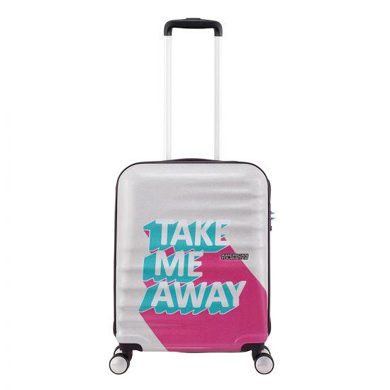 American Tourister Wavebreaker Spinner 55 take me away pink/turquoise Harde Koffer