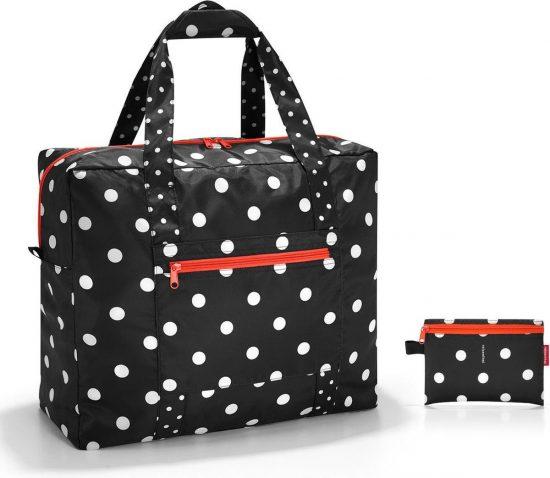 Reisenthel Mini Maxi Touringbag Reistas - Shopper - Opvouwbaar - Polyester - 40 L - Mixed Dots Zwart;Wit;oranje